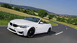 Картинка BMW Белых Кабриолет Едущий 2015 mbDESIGN M4 F83 авто