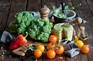 Фотографии Овощи Капуста Помидоры Перец Сыры Брокколи