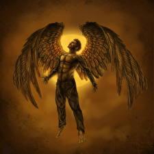 Фото Deus Ex: Human Revolution Deus Ex Ангелы Мужчина Крылья Icarus Игры Фэнтези