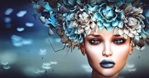 Фотографии Лицо Макияж 3D Графика Девушки