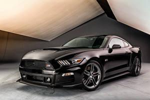 Картинки Форд Черный 2015 Roush Stage 3 Mustang Автомобили