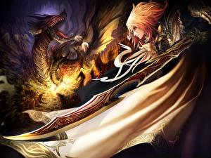 Обои Драконы Плащ Мечи Фэнтези