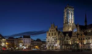Фотографии Бельгия Здания Храм Улица Ночью Уличные фонари Mechelen Antwerp Города
