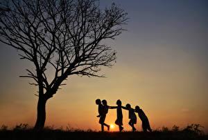 Фотография Рассветы и закаты Дерева Силуэта Дети