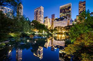 Фотографии Штаты Небоскребы Парки Нью-Йорк Ночь Манхэттен Central Park Города