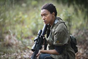 Обои Ходячие мертвецы Снайперская винтовка Негр Sonequa Martin-Green Sasha Фильмы Девушки фото