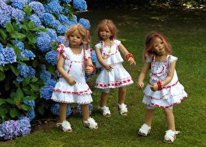 Картинки Парки Гортензия Куклы Трое 3 Девочка Платья Grugapark Essen Природа