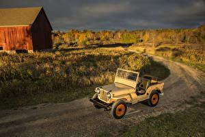 Фотографии Джип Ретро Дороги Желтый 1945-49 Willys-Overland CJ-2A (Jeep) Автомобили