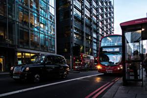 Фотография Автобус Англия Улица Лондон Города