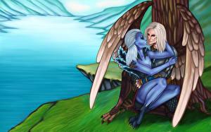 Обои DOTA 2 Vengeful Spirit Воины Скай Маг Сверхъестественные существа Любовь Игры Фэнтези