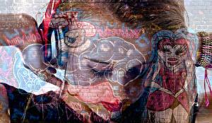 Картинка Граффити Стена Наушники Rock Chick