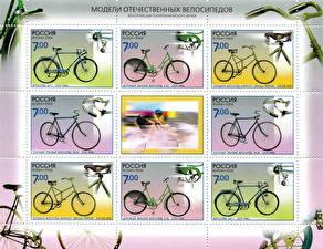 Обои Почтовая марка Велосипед History of Bicycle Leitner 1917 Race Bicycle 1938 ZiCH-1 1946 B-22 1954 фото