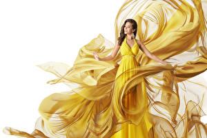 Картинка Креатив Шатенка Платье молодая женщина