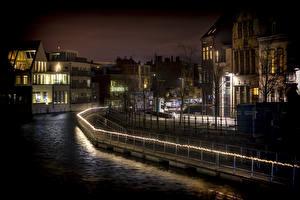 Фотография Бельгия Дома Водный канал Ночные Mechelen Antwerp город