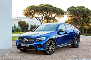 Фотографии Mercedes-Benz Синий Металлик 2016 GLC-Klasse Coupé AMG Line (C253) машины