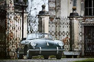 Картинка Порше Старинные Серая Кабриолет Родстер 1959-61 Porsche 356B 1600 S Roadster by D'ieteren Freres (T5) машины