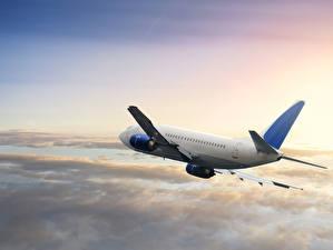 Обои Самолеты Пассажирские Самолеты Небо Полет boeing Авиация фото