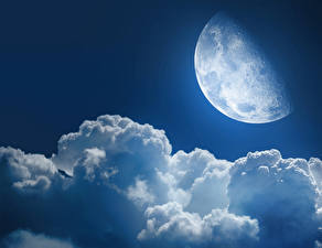 Картинки Небо Луны Облако Природа
