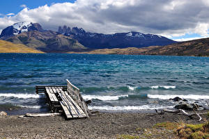 Фотография Чили Побережье Горы Patagonia Lago Azul Природа