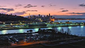 Картинка Америка Дома Причалы Сиэтл Ночь город