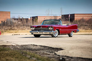 Картинка Крайслер Ретро Бордовый Кабриолет Металлик 1958 Imperial Crown Convertible (LY1-M) Авто