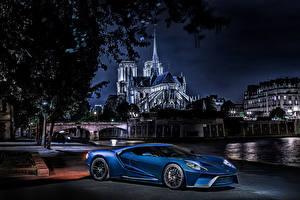 Фото Ford Ночь Синий GT Concept Автомобили