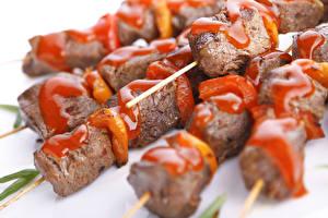 Фотографии Мясные продукты Шашлык Кетчуп