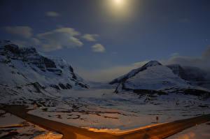 Фотографии Канада Парки Горы Снег Джаспер парк
