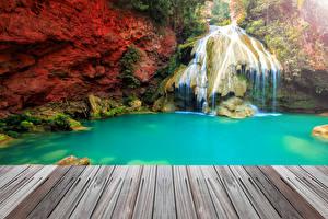 Обои Таиланд Парки Водопады Скала Природа фото