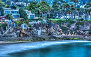 Обои США Побережье Дома Пальмы HDR Laguna Beach Города фото