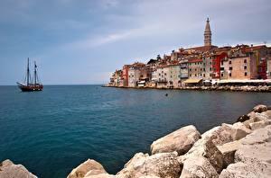 Обои Хорватия Море Дома Набережная Rovinj, Istria, Adriatic Sea Природа