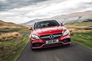 Обои Mercedes-Benz Спереди Красный 2015 AMG C 63 Estate UK-spec S205 Машины