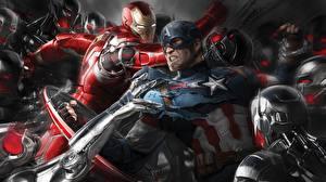 Фотографии Мстители: Эра Альтрона Железный человек герой Капитан Америка герой Битвы Герои комиксов Мужчины Фильмы Фэнтези