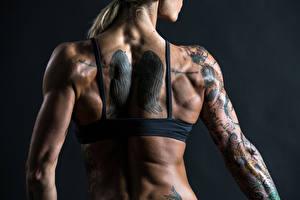 Фото Крупным планом Спина Татуировки Девушки