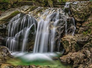 Обои Англия Водопады Камни HDR Beezley Falls, Ingleton, North Yorkshire, Trail Природа фото