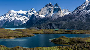 Фотографии Чили Горы Озеро Природа