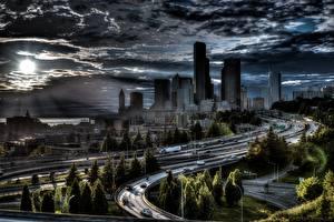 Картинки Дороги Дома Америка Сиэтл HDR Облако Города