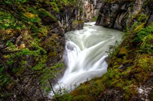Фотография Канада Парки Водопады Каньон Мох Джаспер парк Maligne Canyon