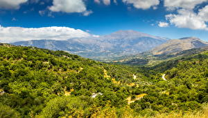 Картинка Пейзаж Горы Леса Облака Crete Природа
