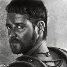 Обои Рисованные Лицо Взгляд Борода Gladiator, Russell Crowe Фильмы фото