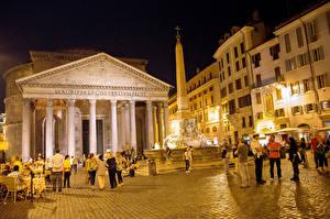 Фото Италия Рим Ночь Улица Pantheon Города