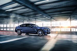 Фотография BMW Синий Едущий Сбоку Седан Alpina 5-Series Sedan F10 Автомобили