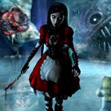 Фото Алиса Ножик Кровь Платье Madness Returns компьютерная игра 3D_Графика