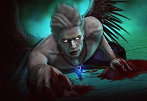 Обои Devil May Cry Ангелы Мужчина Крылья Крови Игры Фэнтези
