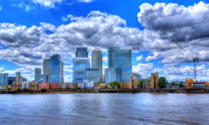 Фотография Англия Речка Здания Облака Лондон HDRI Canary Wharf Города