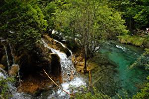 Обои Китай Парки Водопады Цзючжайгоу парк Деревья Природа фото
