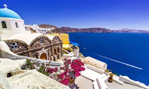 Картинки Греция Здания Море Бугенвиллия Фира Города