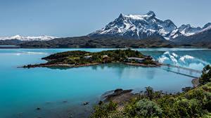 Фото Чили Пейзаж Горы Озеро Остров Природа