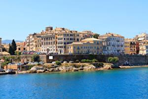 Обои Греция Дома Побережье Corfu Города фото