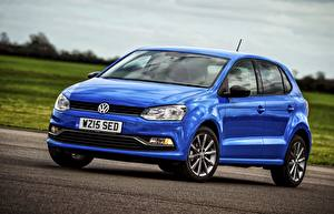 Фотография Volkswagen Синий 2014 Polo 5-door UK-spec Typ 6R Авто